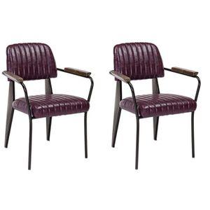 NELLY Lot de 2 fauteuils de salle ? manger bordeaux vintage - L 60 cm x P 63 cm