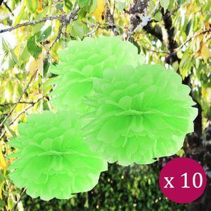 Déco de fête murale 10 Pcs boule de fleurs pompon papier de soie anis