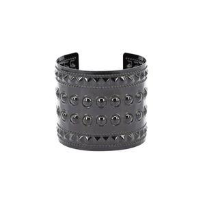 c6b8579470d BRACELET - GOURMETTE Bracelet Manchette clouté - Noir