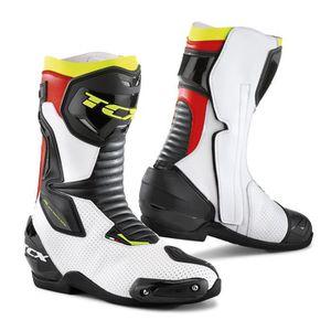 CHAUSSURE - BOTTE Bottes moto - TCX SP-MASTER AIR Blanc/Noir/Rouge -