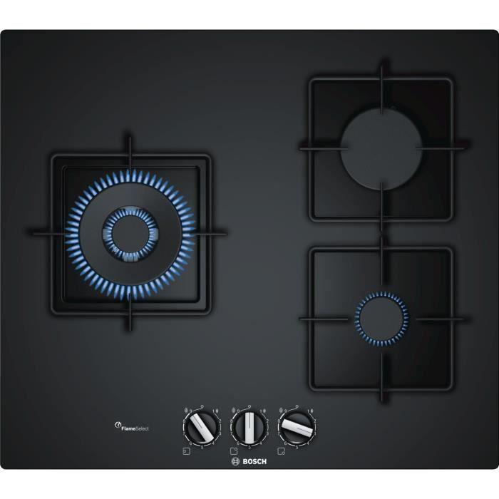 BOSCH PPC6A6B10 Table de cuisson gaz - 3 foyers - 8000 W - L 59 x P 52 cm - Revêtement verre - Noir