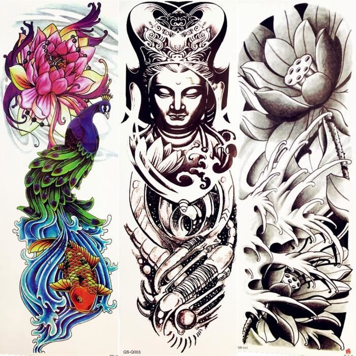 3 Morceaux Aquarelle Paon Femmes Bouddha Temporaire Indiens Noirs