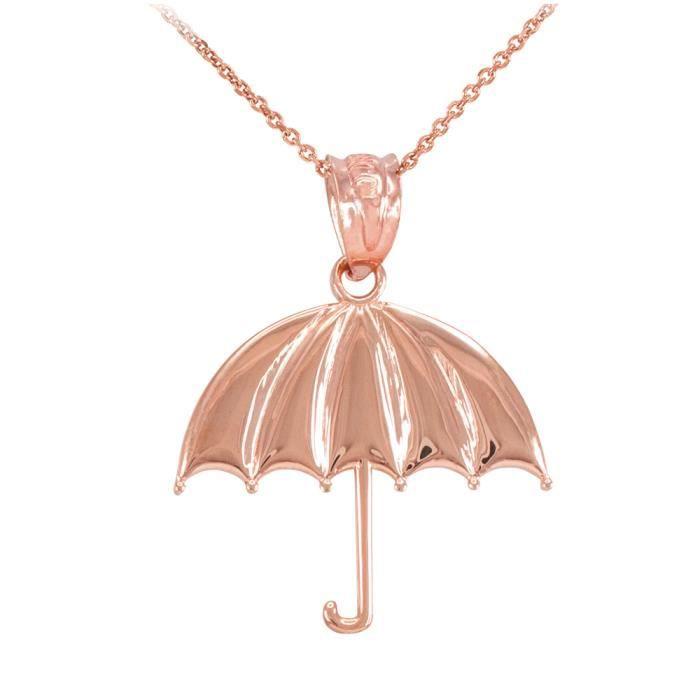 Collier Femme Pendentif 10 Ct Or Rose Ouvert Parapluie (Livré avec une 45cm Chaîne)