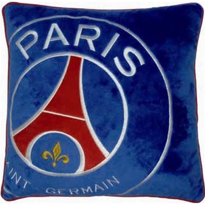 COUSSIN PSG Coussin velours brodé Logo - 36x36 cm - Bleu