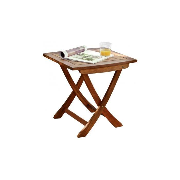 Petite table basse de jardin carrée bois balau noyer - Achat ...