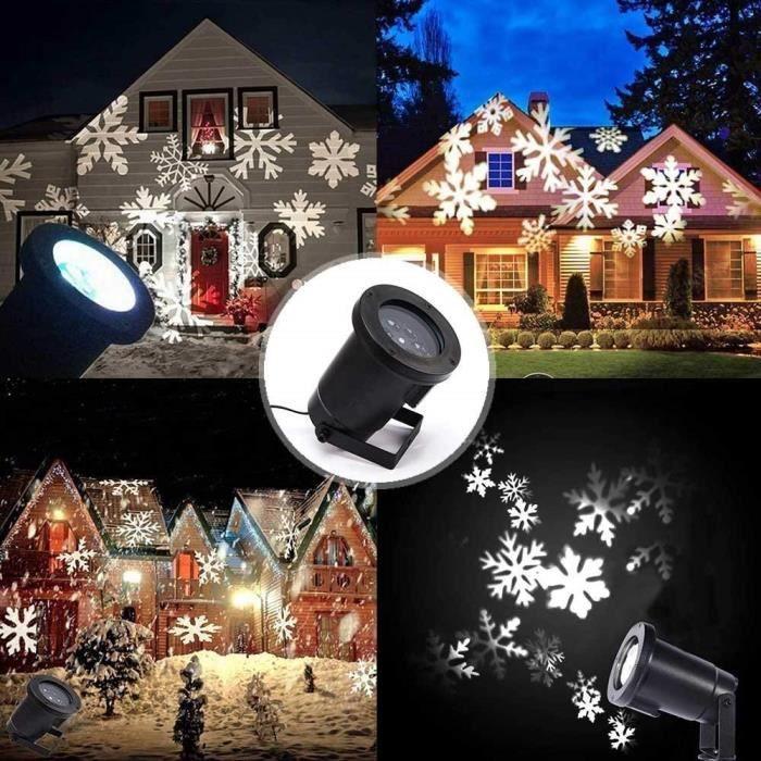 Projecteur LED Mouvement Flocon de Neige Lumineux, Lumiere Decoration de  Projecteur Pere Noel Exterieur 711bf3531af4