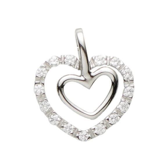 Basic Silber - Basique Argent 21.0011S Femmes Pendentif Coeur Argent ZirconiaRéf 39425