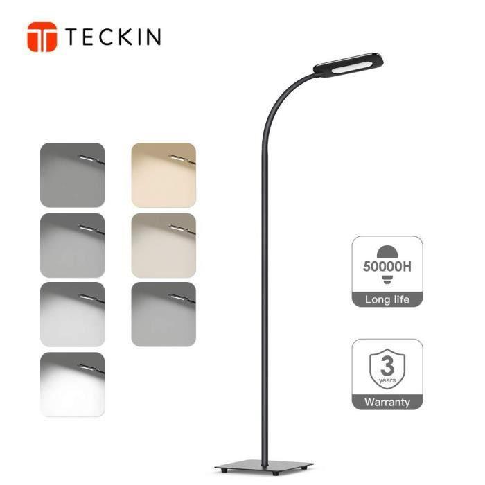 Lampadaire LED,Lampe sur Pied avec Luminosité Réglable, lampe salon Lumière  Blanche Naturelle, Protection Des Yeux, Cou Flexible,