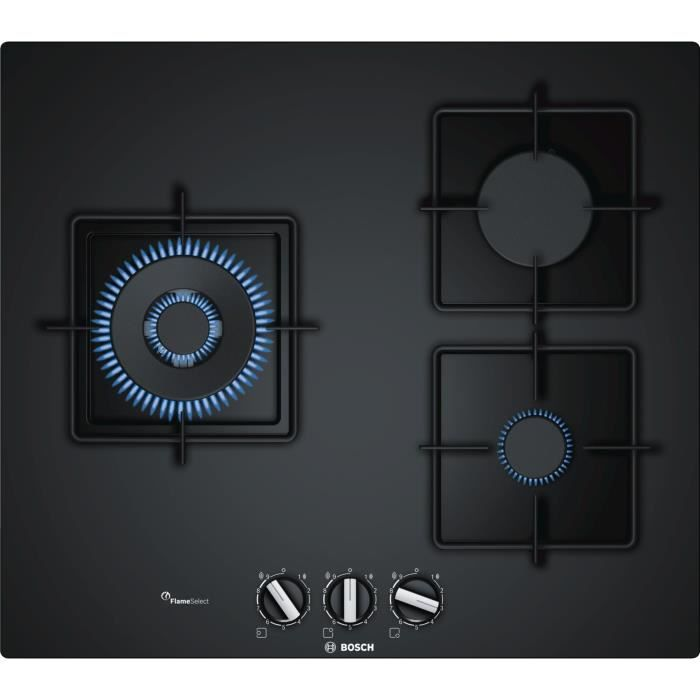 meilleur pas cher 157df 6b51e BOSCH PPC6A6B10 Table de cuisson gaz - 3 foyers - 8000 W - L 59 x P 52 cm -  Revêtement verre - Noir