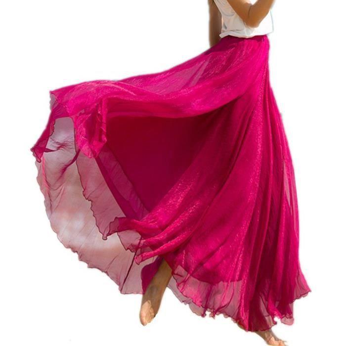 Femmes Retro Vintage double couche mousseline de soie plissée Maxi jupe longue robe