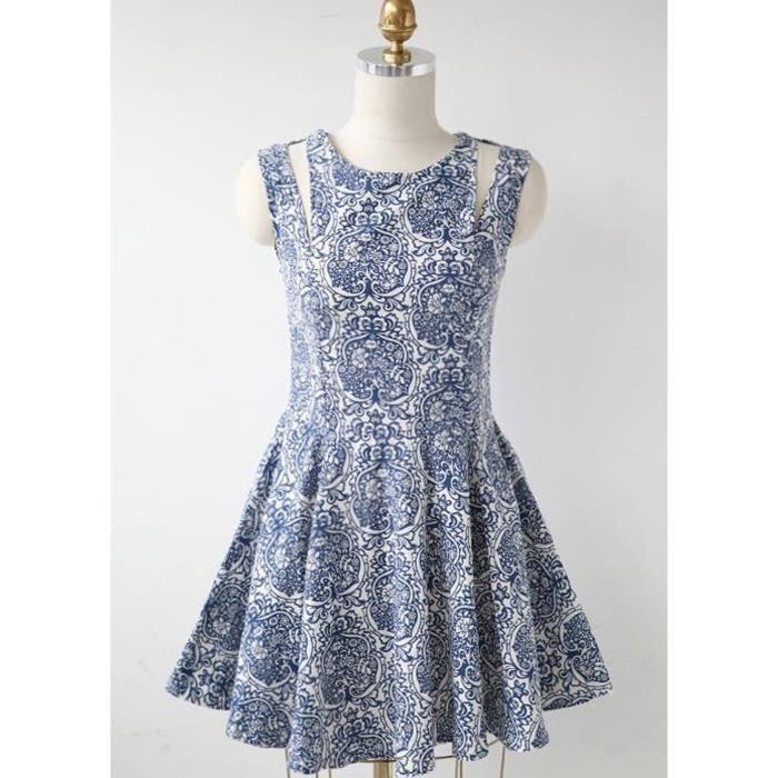 Robe plissée porcelaine fleur imprimé col rond sans manches-bleu