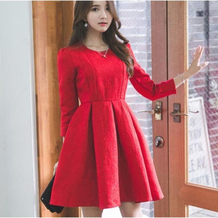 1e697514bf3 Nouveau Slim Couleur Unie Rouge Robe Femme Mode Broderie Manche Longue  Printemps Automne Hiver Robe Courte