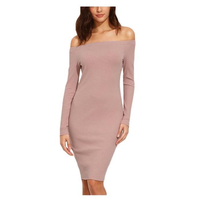 Robes Elégante Pour Femme Dames Plaine Rose Automne De Lépaule à manches longues Genou Robe Longueur Gaine