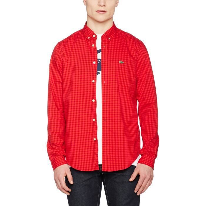 a4ee3afaac61 Lacoste Chemise Casual Homme 1M24QN Taille-L Rouge Rouge - Achat ...