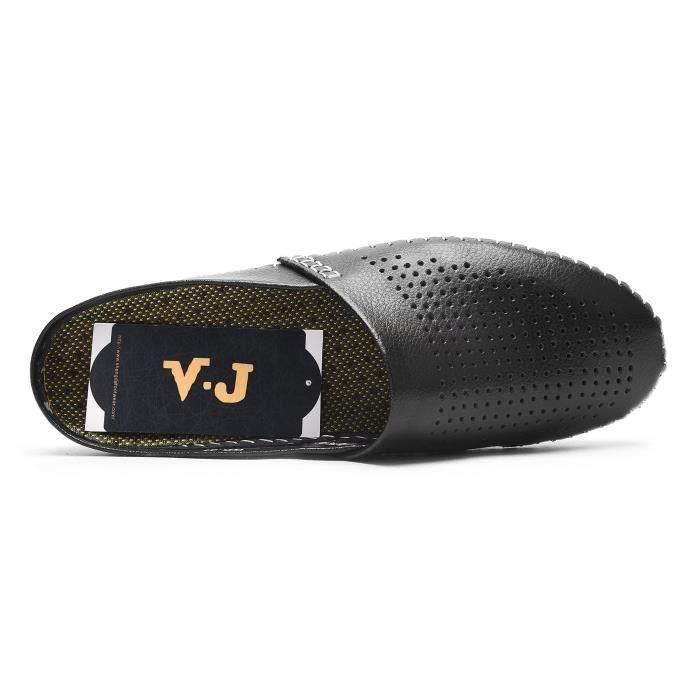 pantoufles de maison en cuir respirant d'été glissement de confort de bureau sur des chaussures de conduite décontractées sandales d SHc5MMge