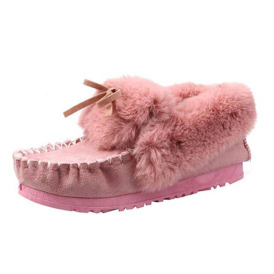 Mode D'hiver Chaud Femme Bottines De Plates Neige Chaussures Rose Lazy Bottes Bordée Fourrure rrwq4a