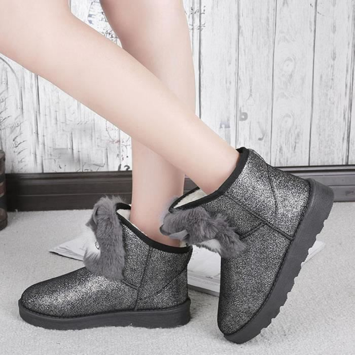 Casual Lady Hiver Femme Gris Chaud Bottines Chaussures Mode Neige xazfgn