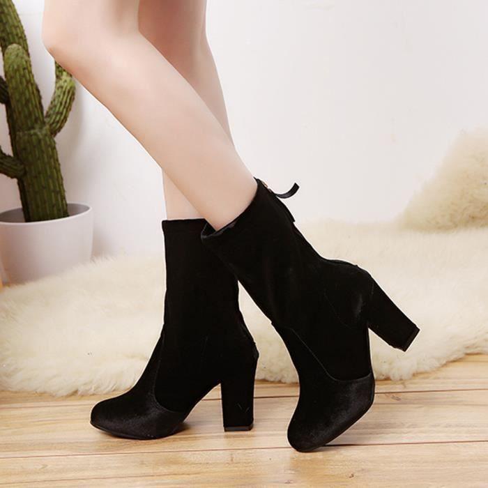 Chaussuresnoir Martin Femmes Bottines Les Bottes Benjanies High Heels Chaudes Faux Dames Boucle v77fxdqz