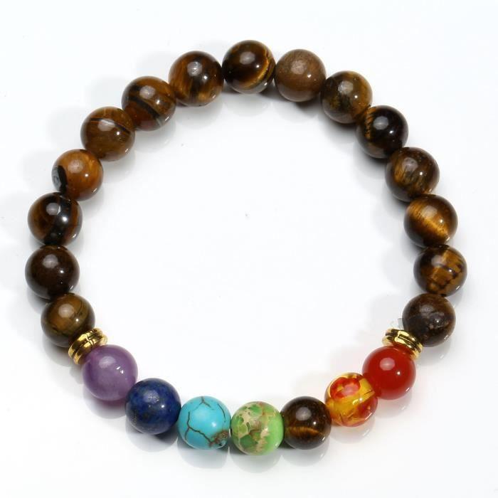 Womens 7 Pcs 8mm 7 Chakras Beads Bracelet Lava Rock Elastic Natural Stone Yoga Bracelet Bangle TBN60