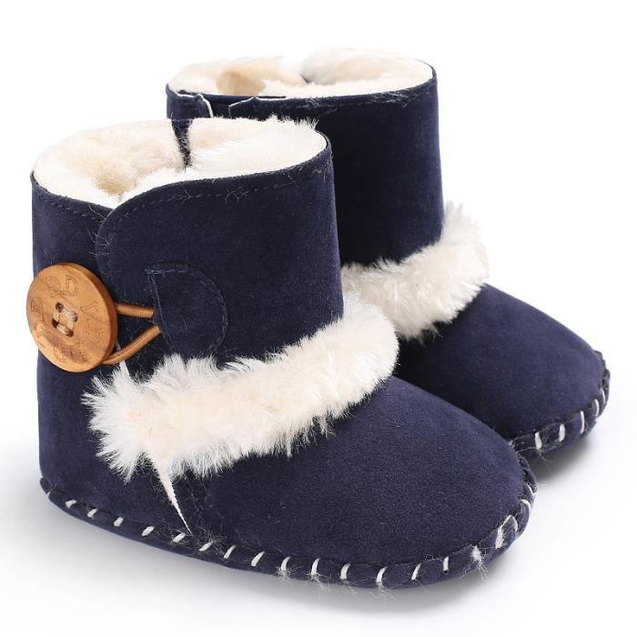 Bleu-Hiver Bébé Chaussures Garde au chaud Antidérapant Bottes de neige