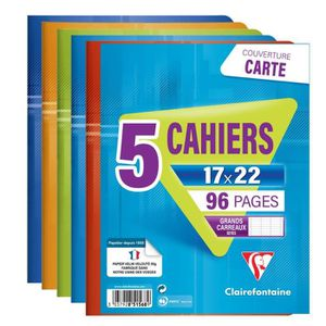 CAHIER CLAIREFONTAINE Lot de 5 cahiers piqûres 96 pages s