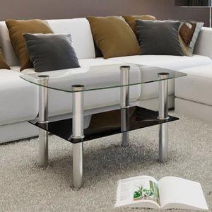 TABLE BASSE Table basse avec 2 étagères Verre