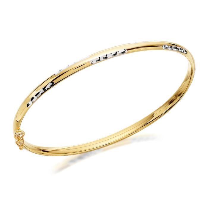 Jonc Deux Taille Femme Bracelet Or 9 Carats hinds F Couleurs Diamant En lF1cTJ3Ku