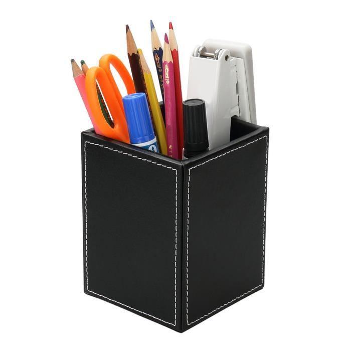 pot crayons bureau en cuir bo te de rangement stylos. Black Bedroom Furniture Sets. Home Design Ideas