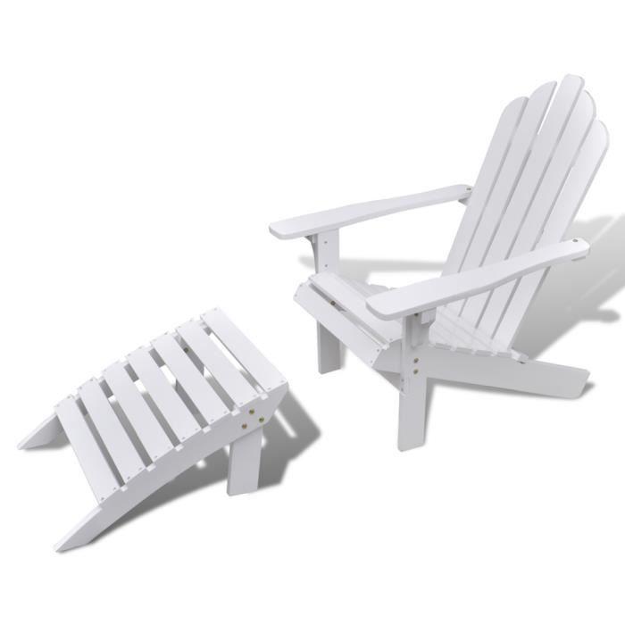 Chaise salon de jardin en bois blanc avec repose-pieds - Achat ...