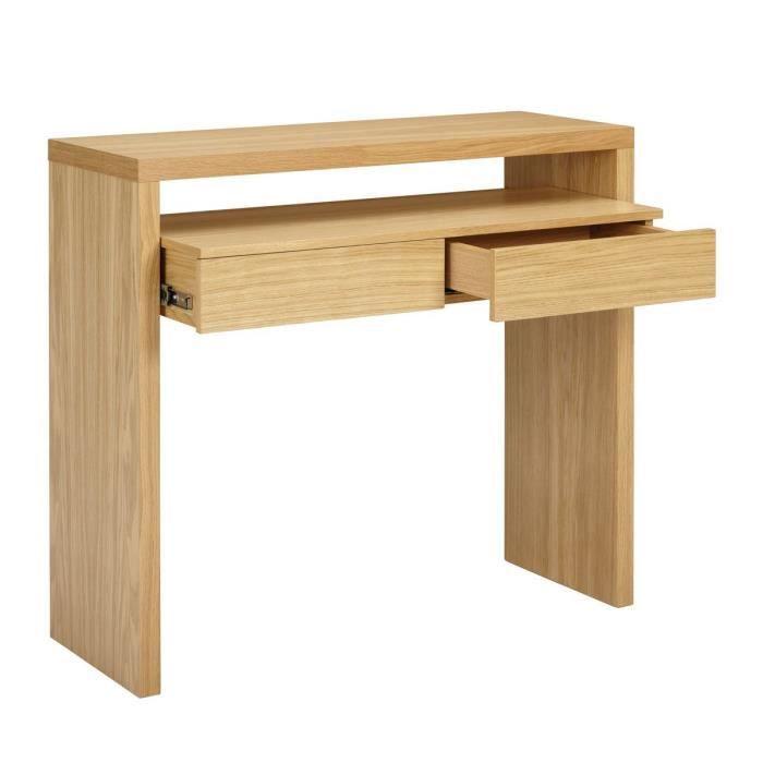 bureau console bois 2 tiroirs blum couleur ch ne achat vente console extensible bureau. Black Bedroom Furniture Sets. Home Design Ideas