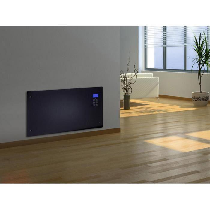 Radiateur Electrique Design Noir Avec Ecran Lcd 1000 W Ou 2000 W