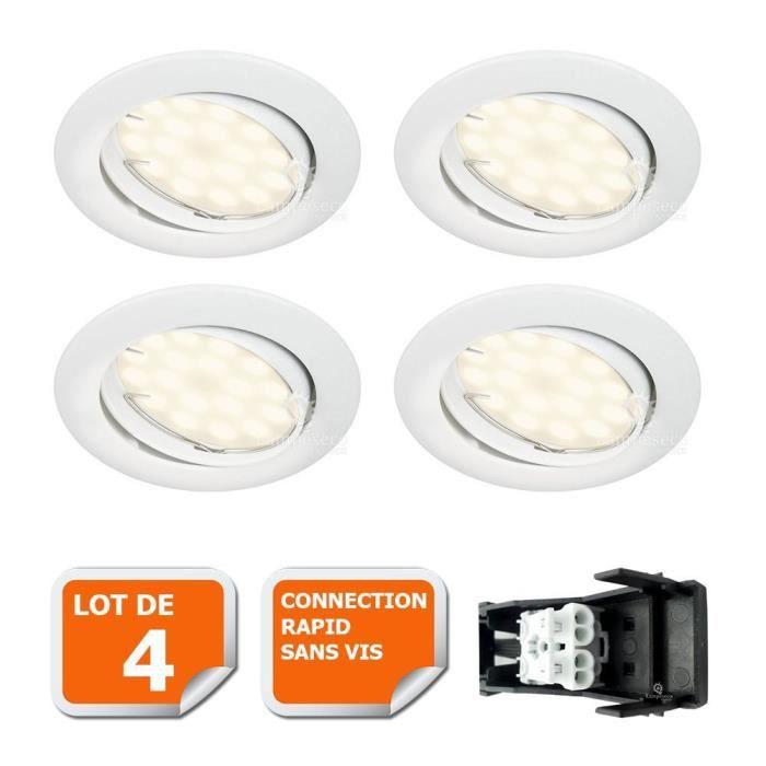 34e74cefb214c LOT DE 4 SPOT LED ENCASTRABLE COMPLETE ORIENTABLE BLANC AVEC AMPOULE GU10  230V eq. 50W