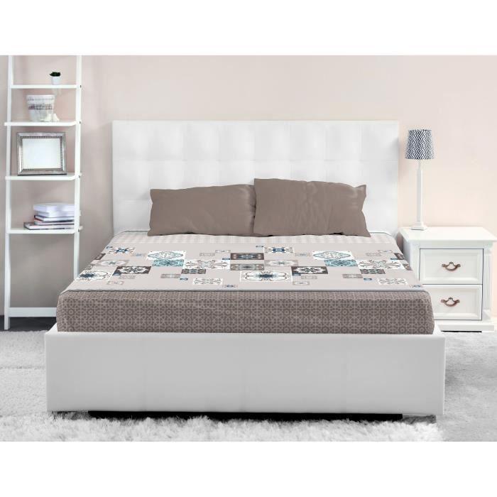 lovely home drap housse 100 coton mosaica 90x190 cm taupe achat vente drap housse soldes. Black Bedroom Furniture Sets. Home Design Ideas
