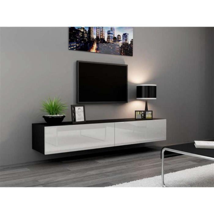 Justhome Vigo Meuble Tv 180 Cm Couleur Noir Mat Blanc Laque Haute