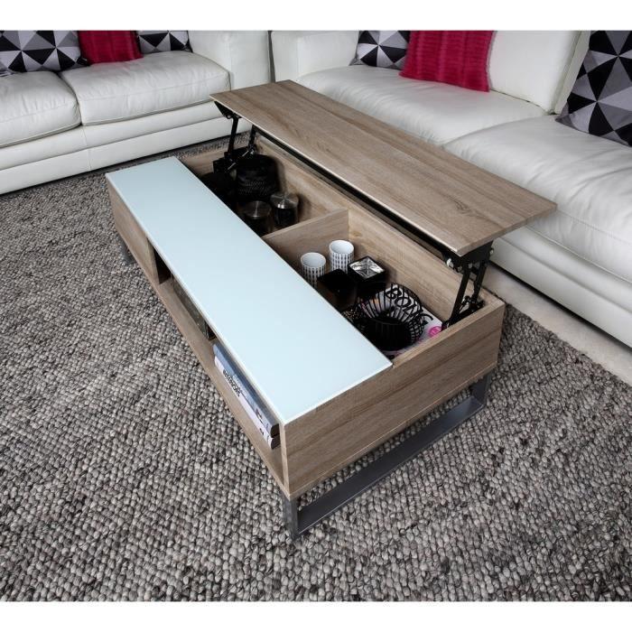 Table basse design réglage en hauteur, en bois clair et verre, AVENA ... 57732acf270e