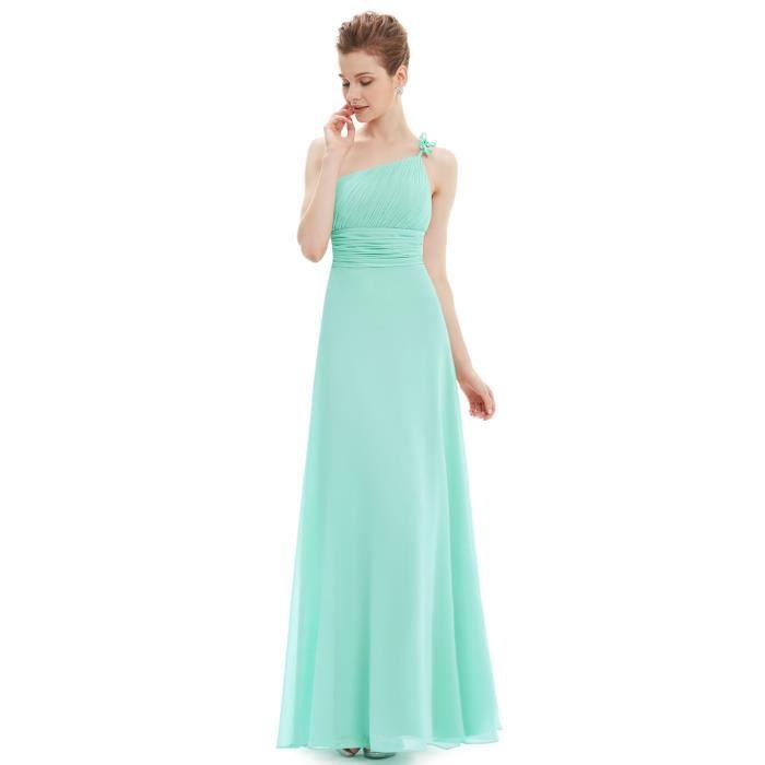7ce98866a010 Robe de soirée longue vert d eau simple en mousseline taille empire ...