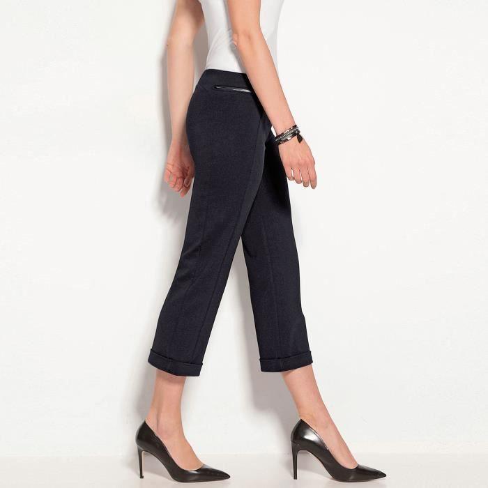 pantalon corsaire revers sur bas femme noir achat vente pantalon cdiscount. Black Bedroom Furniture Sets. Home Design Ideas