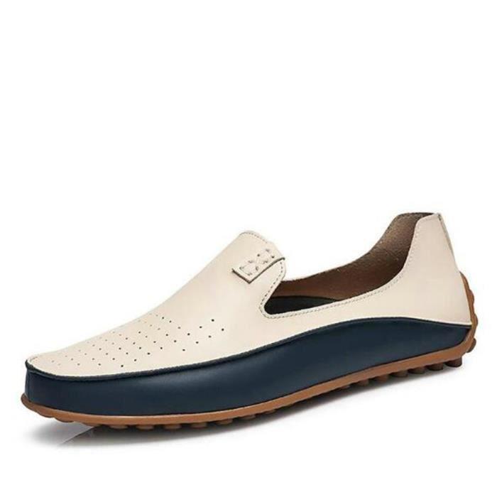 homme Moccasins En Cuir De Marque De Luxe Chaussures Nouvelle Mode Confortable Grande Taille Super Loafer Plus De Couleur bleu