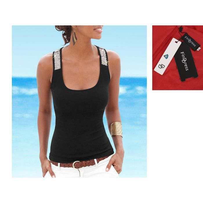e24caa4728b16 FindDress Débardeur à paillette Femme Uni T-shirt Sans Manche Dos ...