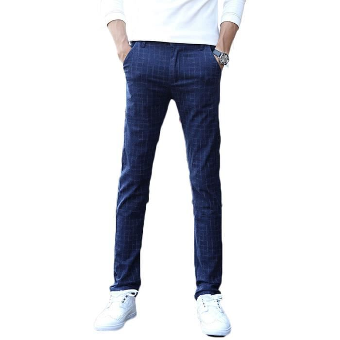 3425db0a9325 Pantalon Homme lin a carreaux Pantalon Hommes VêTement Masculin-noir ...