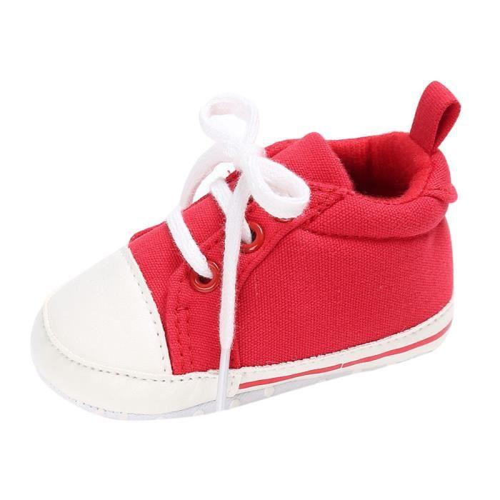 6af7864a00966 BOTTE Chaussures bébé garçon fille nouveau-né crèche chaussures à semelle  souple RougeHM