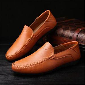 Mocassins en cuir Chaussures Oxford pour Chaussures habillées en cuir véritable homme rétro Derbies hommes,jaune,6.5,110_110