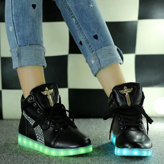 Ange Croix Basket Montantes 7 Couleurs LED Chaussures Lumineux BlancUnisexe Homme Femme Sneakers Gifts USB Chargeable NOIR