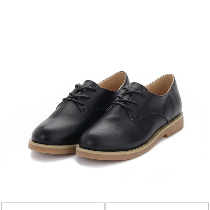 Chaussure Femme Cuir Confortable mode Mocassion chaussures de ville BLKG-XZ214Noir38