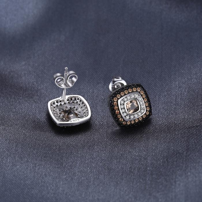 JewelryPalace Fashion 0.55ct Naturel Enfumé Quartz et Spinelle Goujon Boucles dOreilles en Argent 925