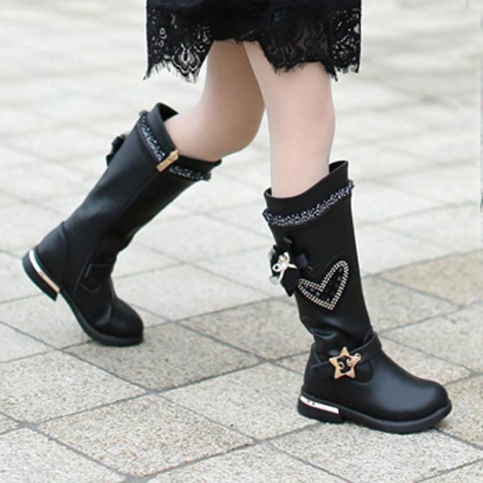 2018 automne et hiver filles chaud imperméable Martin bottes bottes hautes chaussures princesse