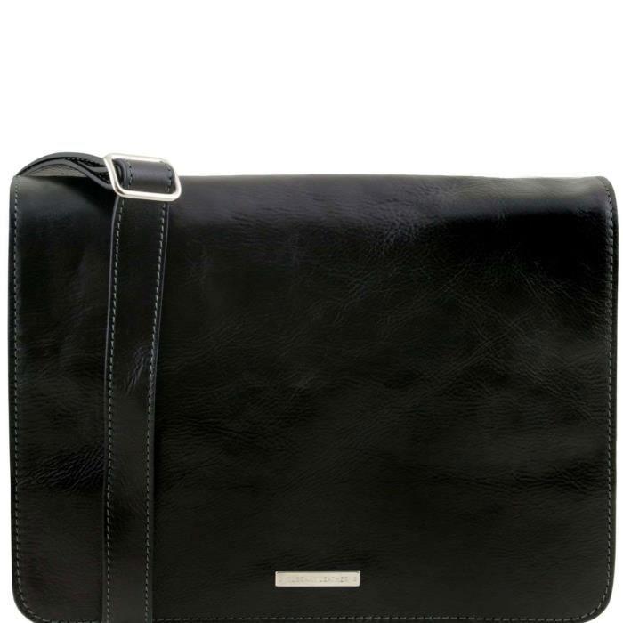 Tuscany Leather - TL Messenger - Sac bandoulière en cuir 1 compartiment - Grand modèle - Noir