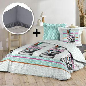 housse de couette chat 220x240 achat vente pas cher. Black Bedroom Furniture Sets. Home Design Ideas
