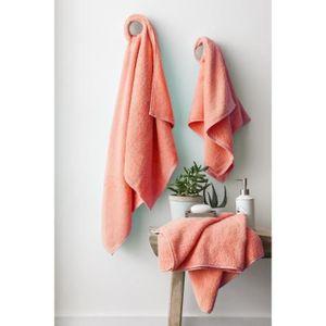 FINLANDEK Set de 2 Draps de douche 70x140 cm + 1 serviette de toilette 50x100 cm KYLPY corail
