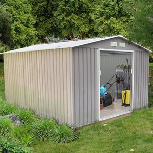 ABRI JARDIN - CHALET Abri de jardin 8.84 m² en acier anti-corrosion gri